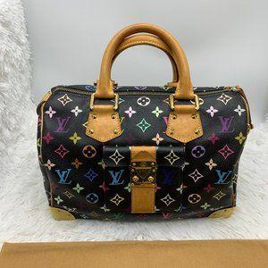 Louis Vuitton multicolore black speedy bag Noir 30